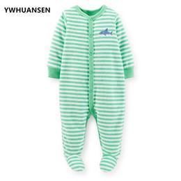 2a60d3a79 YWHUANSEN Grün Striped Newborn Baby Jungen Footies Shark Baby Kleidung  Infantil Menino Overalls Baumwolle Kleidung Für Jungen Körper