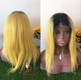 Wholesale Yellow Lace Wig - 1b yellow colored Vrigin human hair full lace wig and lace front wig dark roots yellow silky straight Free shipping