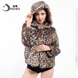 hoodie del leopardo del invierno de las mujeres Rebajas DEEMEI Mujeres con capucha Faux Fur Coat Leopard Thicken Cálido Chaqueta con Capucha de Invierno Moda Outwear Chaquetas cortas Casaco De Pele Falso