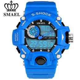 2019 relojes deportivos SMAEL Marca Hombres Relojes Deportivos Reloj LED Analógico Moda Digital Al Aire Libre Escalada Impermeable Ejército de Goma Relojes Reloj Hombre relojes deportivos baratos