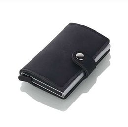 Wholesale grey bow dress - 2018 Brand Credit Card Holders Business Men Card Holders Fashion RFID Cases Automatical Aluminium Bank Card Wallets
