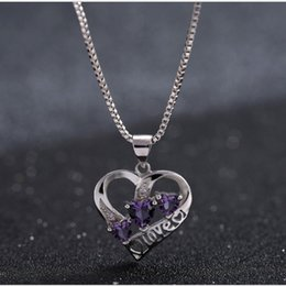 Wholesale Love Heart Shaped - Silver necklace female Japanese and Korean version of the simple three heart-shaped amethyst pendant plated white clavicle silver jewelry wh