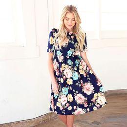 25630f28a099b MVUPP mère fille robes famille correspondant à des vêtements imprimé floral  plissé tenue de soirée bébé giral et maman robe vintage