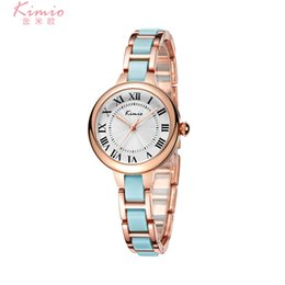 Wholesale Ladies Ceramic Band Watches - 2018 Fashion Girl Students New Arrival Kimio Brand Watches Small Quartz-watch Ceramic Band Fashion Ladies Bracelet Watches Female Clock