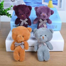 Wholesale Game Tie - 13CM Kids Plush pendant diy bow tie Bear pendant 4 Colors Lovely Stuffed Animals figure birthday present Plush dolls Free Shipping B0108