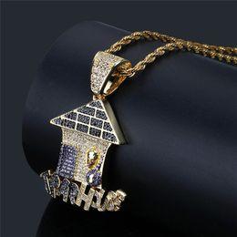 2018 желтые дома Новые модные мужские панк-ювелирные изделия с желтым золотом покрыты ожерельем с полным панцирем AAA CZ для мужских хип-хоп-ювелирных изделий дешево желтые дома