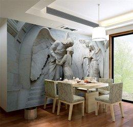 Murais de anjo on-line-Europeu em relevo 3d anjo pessoas mural de parede foto papel de parede para quarto arte da parede decoração pintura murais tamanho personalizado