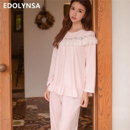 10f36d208b Lace Pajama Sets 2018 Long Sleeve Sleepwear Sexy Women Comfortable Home  Wear Vintage Indoor Clothing Pyjamas For Women  L134