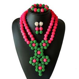 2 Filas Rosa Perla Verde Joyería Novia Perlas Africanas Collar Pendiente Pulsera Nigeriano Conjunto de Joyas de Boda para Mujeres Envío Gratis desde fabricantes