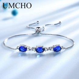 saphir armbänder blau silber Rabatt UMCHO Echt 925 Silber Armband Oval Erstellt Nano Blue Saphir Armbänder Armreifen Freie Expansion Romantische Schmucksachen Für Frauen S18101308