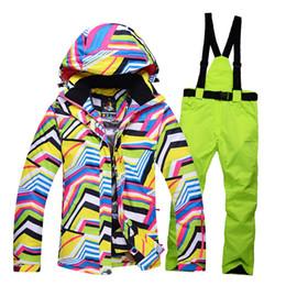 frauen wintersport-sets Rabatt Top Marke Snow Jacken Frauen Skianzug Outdoor Sports Ski Jacken Hosen Sets Winddicht Winter Thermische Snowboarden Kapuzenmantel