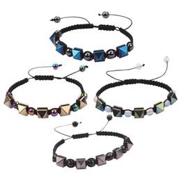 Wholesale Spikes Bracelet For Men - Wholesale Adjustable Handmade Weave Spike Bracelet Beaded Bracelets with 4 Different Colors for Women Men MJ-BB049