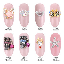 Wholesale Glitter Butterflies Decorations - 50pcs Glitters strass ongles butterfly nail art flowers rhinestone gems stone reindeer crown skull jewelry decorations Y786~793