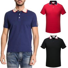 La banda degli uomini casuali della camicia di modo online-Abbigliamento sportivo Moda Polo Camicia Uomo Contrast Turn Collar Trim Fit Cotton Stripe Sleeves Casual Top