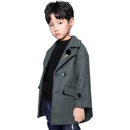 Jaqueta longa dos meninos coreanos on-line-casaco de lã de outono e inverno nova jaqueta infantil do menino roupas longas seção casaco de lã das crianças coreanas
