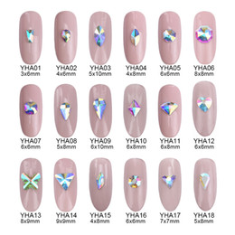 Wholesale Nail Designs Accessories - 100pcs Glitter crystal ab flatback rhinestones for nail art decoration star teardrop heart designs nail salon accessories supply