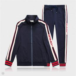 2019 veste chemise homme xl Veste et pantalon de veste de créateur pour hommes Sweat-shirt de sport de marque de mode Casual Veste à glissière d'automne et pantalon long M-3XL promotion veste chemise homme xl