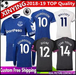 2018 2019 nouveaux maillots de football Walcott everton Long Manche courte 18 19 MINA RICHARLISON SIGURDSSON Edition à domicile 3ème dames de football DIGNE ? partir de fabricateur