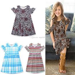 2019 vestidos de niña leopardo INS baby geometry dress summer kids vestidos de leopardo moda niños niñas vestido de rayas C2033 rebajas vestidos de niña leopardo