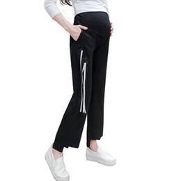 Argentina Pengpious 2017 nueva moda de la cinta de las mujeres embarazadas pantalones de abdomen pantalones anchos de maternidad pantalones de vientre irregulares elegante Suministro