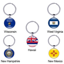 Wholesale Car Flag Usa - Wisconsin State Flag Keychain West Virginia Hawaii New Hampshire USA 50 States Glass Cabochon Car Key Accessories Women Men Gift Wholesale