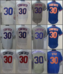 Wholesale Purple Strips - 2018 Flexbase New York #30 Michael Conforto Home Away Baseball Jersey White Strips Grey Blue Green Pullover Cool Base Stitched