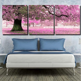 Wholesale Cherry Blossom Canvas Painting - Wholesale-40x50cmx3pc Pink Tree Pictures Painting By Numbers DIY Digital Oil Painting Cherry Blossoms Trees Home Decoration HD1079