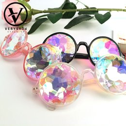 Wholesale Rave Sunglasses - New Round Kaleidoscope Glasses Women Rave Festival Sunglasses Men Holographic Glasses Colorful Celebrity Party Eyewear