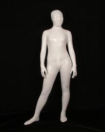 Disfraces de látex completo online-Blanco Full Body Lycra Spandex Látex / Caucho Cos Zentai Traje Body Disfraces Adultos Disfraz