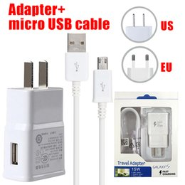 Wholesale Galaxy Charger Cable - Wall Charger Adapter Fast Charging Travel Wall Charger +1.2M Micro USB Data Cable for Samsung Galaxy S6 Edge Plus