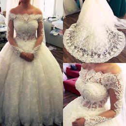 Wholesale Modest Red Wedding Dresses - Gorgeous Luxury 2018 Lace Ball Gown Wedding Dresses Modest Off Shoulder Sheer Long Sleeves Appliques sequins Arabic Dubai Bridal Gowns