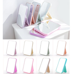 mesas laterais espelhadas atacado Desconto 20,5cm x 14cm Espelho de maquiagem - Retângulo Espelhos de papelaria de viagem dobrados - Acessórios de maquiagem Cor de plástico Cor de mistura