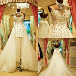 brillar vestidos de novia simples Rebajas Espumoso lujo desmontable tren vestidos de novia cariño Rhinestones cristales lentejuelas tul vestidos de novia calientes por encargo DH4142
