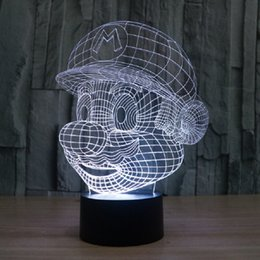 Wholesale Super Mario Wedding - Super Mario 3D Visual Night Light Touch Button Colors Change LEDTable Lamp Gift AA Battery Wholesale Dropshipping Free Shipping