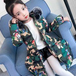 Manteau fourrure hiver enfant en Ligne-2018 vestes d'hiver pour les filles de la mode pour enfants papillon imprimé filles manteaux parka manteau épais fourrure à capuchon chaud enfants vestes