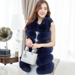 Wholesale White Women Fur Vest Faux - Designer Coat Women High Quality Faux Fox Fur Vest Winter Female Luxury Women's Coat Jacket Pink Gilet Veste Fashion Women Clothing