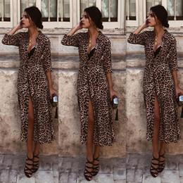 leopard v neck kleid Rabatt 2018 Casual Kleider Boho Stil Kleid Frauen  Strand Sommerkleid New Year e4832b3206