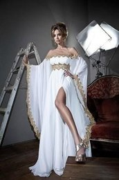 Wholesale Strapless Feather Cocktail Dresses - New Arrival White Chiffon Long Sleeves Gold Lace Applique Strapless A line moroccan kaftan Formal Long Evening Dress Arabic 2018