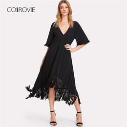 Wholesale Short Dress Fringes - COLROVIE Crochet Fringe Hem Swing Plain Dress 2018 New Black V Neck Half Sleeve Casual Dress Summer Short Tunic