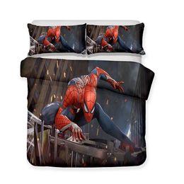Fundos 3d on-line-3D impresso cama Marvel tema Spiderman em um fundo cinza Bedding Sets / duvet Cover Set
