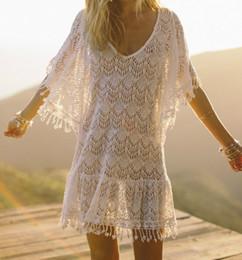 6866126a214b Lace Beach Cover Up Tassel Bathing Suit Cover Ups Vestido Playa Crochet  Saida De Praia Cover Up Kaftan Bikinis Shirt Swimsuit