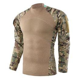 2019 camisas de manga larga de senderismo Hombres Ejército Verde Rip-stop Camisetas Tácticas Camuflaje Camisa de manga larga Camisa de otoño Caza Ropa de hombre camisas de manga larga de senderismo baratos