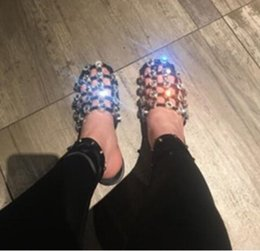 Wholesale Caged Heels - 2018 Fashion Cuts Out Shoes Diamond Studded Sandals Leather Caged Slipper Flat Heel Slide Sandals Slip On Casual Sandals