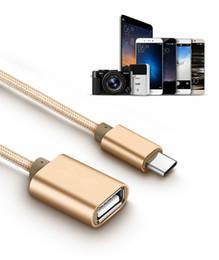 Örgü Tipi C USB 3.1 Erkek OTG Tip-A Dişi Adaptör Kablosu Android mikro usb için otg CAB297 cheap otg cord nereden otg kablosu tedarikçiler