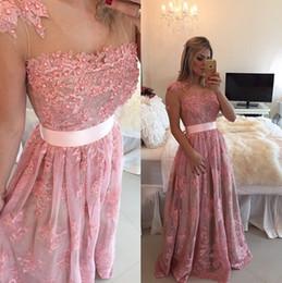 Wholesale Bones Work - Major Work Cap Sleeves Pearl Beaded Lace Organza Prom Dresses Sexy Pink Lace Gown Club Wear vestido de festa longo Evening Gowns
