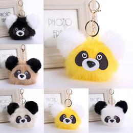 Wholesale ball panda - Newest Imitate Rabbit Fur Ball Keychain Panda Doll Key Chain Ring Handbag Key Ring Car Key 6 Styles Free DHL D32Q