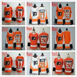 799cd47e9 Mujeres Jóvenes Niños Philadelphia Flyers Jersey Hockey 28 Claude Giroux 17  Wayne Simmonds 53 Shayne Gostisbehere Jersey blanco cosido blanco