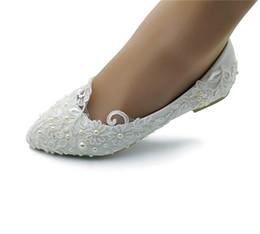 Canada Perle artisanale perle Ribbon Dentelle Chaussures De Mariée Bout Pointu De Mariage De Danse Chaussures Belles Chaussures De Demoiselle D'honneur Femmes Appartements Offre