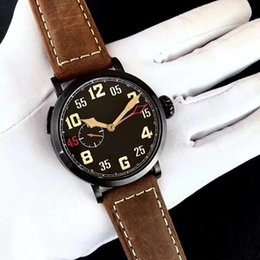 Wholesale Pilots Watches - New style pilot series fashion mens watch 45mm black dial brown leather strap watches super luminous sapphire automatic male watches