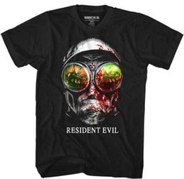 Top games adult on-line-Resident Evil Capcom Video Game Máscara De Gás Adulto T Shirt Estilo Hip Hop Tops Camiseta Casual Homem de Manga Curta de Lazer